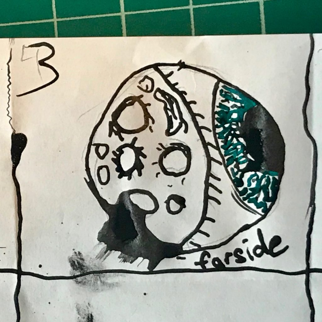 Black and Green Ink Drawing of Moon with Farside an Eyeball