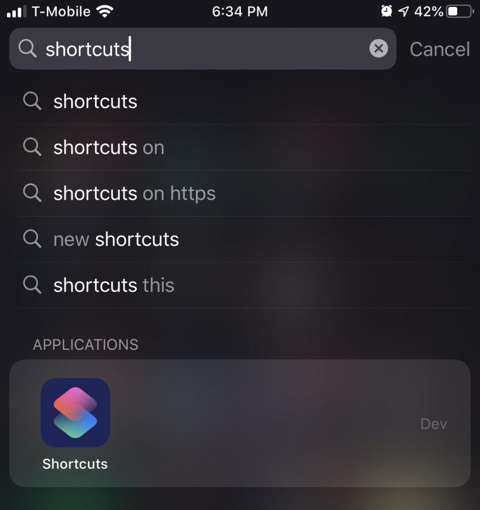 Search for shortcuts Application